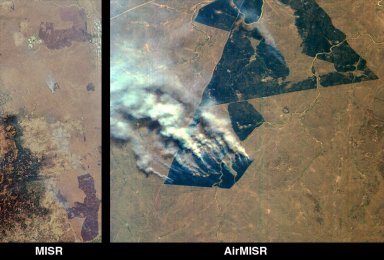 MISR and AirMISR Simultaneously Observe African Grassland Fires