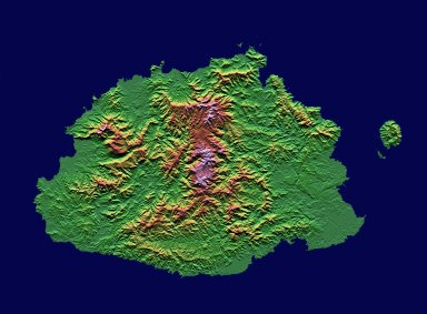 Shaded relief, color as height, Fiji