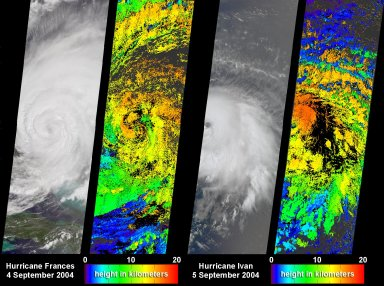 Cloud Height Maps for Hurricanes Frances and Ivan
