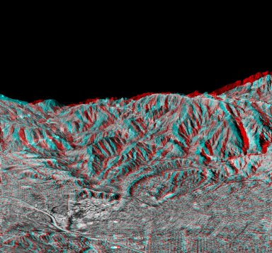 Anaglyph of Perspective View with Aerial Photo Overlay Pasadena, California