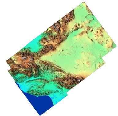 Southern California Shaded Relief, Color as Height
