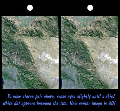 SRTM Stereo Pair with Landsat Overlay: Los Angeles to San Joaquin Valley, California