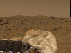 Martian terrain, unfurled rover ramps & deflated airbags