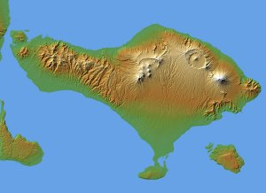 Bali, Shaded Relief and Colored Height