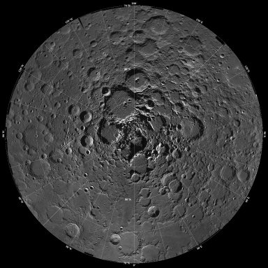 North Pole Region of the Moon as Seen by Clementine
