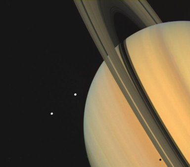 Saturn With Tethys and Dione