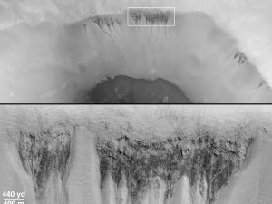 """Evidence for Recent Liquid Water on Mars: Seepage Sites in """"Aerobraking Crater"""" Revisited"""