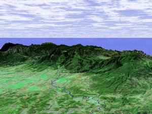 Perspective View with Landsat Overlay, Costa Rica