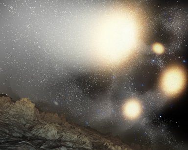 Fantastic Four Galaxies with Planet (Artist Concept)