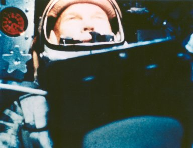 Astronaut John Glenn During His First Orbit in Friendship 7