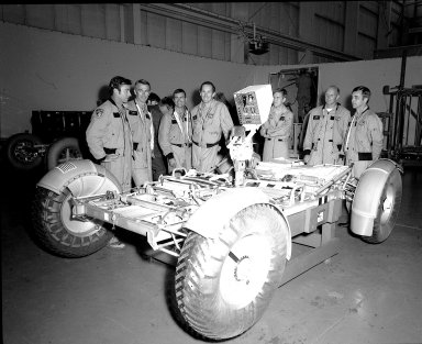 Lunar Roving Vehicle Test Unit with Astronauts