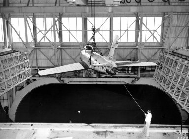 F-86 Lowered into Full Scale Tunnel at Ames