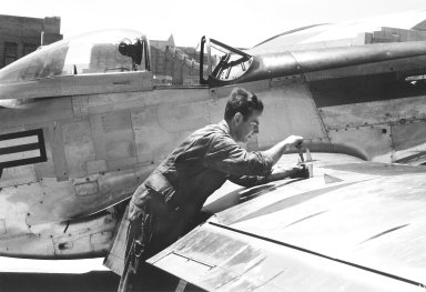 P-80 Model Mounted on Wing of a NACA P-51B