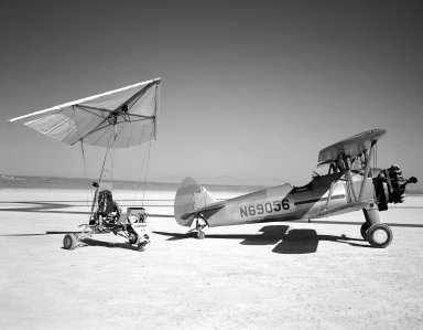Paresev 1-A on Lakebed with Tow Plane