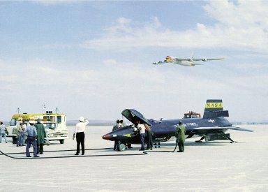 X-15 on Lakebed with B-52 Mothership Flyover