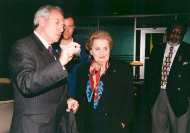 Madeleine Albright and Daniel Goldin Wait for STS-88 Launch