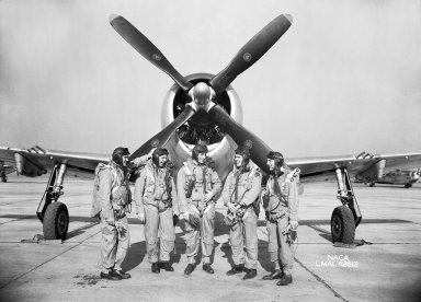 Test Pilots with P-47 Thunderbolt Fighter