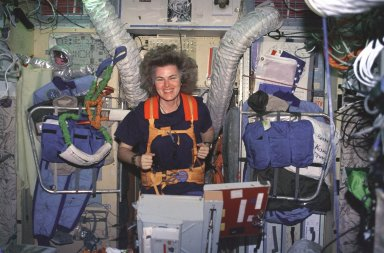 Lucid on Treadmill in Russian Mir Space Station