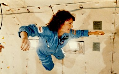 Christa McAuliffe Experiences Weightlessness During KC-135 Flight