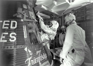 John Glenn enters his Friendship 7 capsule