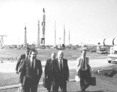 Members of the Rogers Commission arrive at KSC