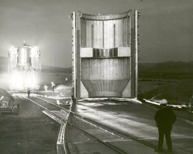 Nuclear Rocket Engine Being Transported to Test Stand