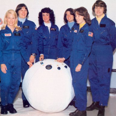"""First Six Women Astronauts with """"Rescue Ball"""