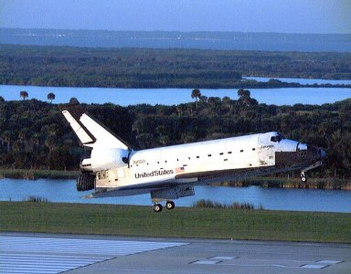 With Commander Kevin Kregel and Pilot Steven Lindsey at the controls, the orbiter Columbia glides to its touchdown on Runway 33, the numbers visible below the orbiter, at KSC?s Shuttle Landing Facility. Main gear touchdown occurred at 7:20:04 a.m. EST on Dec. 5 to complete the 15-day, 16-hour and 34-minutelong STS-87 mission of 6.5 million miles. Also onboard the orbiter are Mission Specialists Winston Scott; Kalpana Chawla, Ph.D.; and Takao Doi, Ph.D., of the National Space Development Agency of Japan; along with Payload Specialist Leonid Kadenyuk of the National Space Agency of Ukraine. During the 88th Space Shuttle mission, the crew performed experiments on the United States Microgravity Payload-4 and pollinated plants as part of the Collaborative Ukrainian Experiment. This was the 12th landing for Columbia at KSC and the 41st KSC landing in the history of the Space Shuttle program