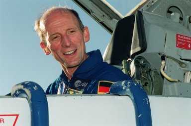 STS-99 Mission Specialist Gerhard Thiele, with the European Space Agency, arrives at KSC aboard a T-38 training jet aircraft to take part in a Terminal Countdown Demonstration Test (TCDT). The TCDT provides the crew with simulated countdown exercises, emergency egress training, and opportunities to inspect the mission payloads in the orbiter's payload bay. Other crew members taking part are Commander Kevin Kregel, Pilot Dominic Gorie, and Mission Specialists Janet Lynn Kavandi (Ph.D.), Janice Voss (Ph.D.), and Mamoru Mohri, who is with the National Space Development Agency (NASDA) of Japan. STS-99 is the Shuttle Radar Topography Mission, which will chart a new course, using two antennae and a 200-foot-long section of space station-derived mast protruding from the payload bay to produce unrivaled 3-D images of the Earth's surface. The result of the Shuttle Radar Topography Mission could be close to 1 trillion measurements of the Earth's topography. Besides contributing to the production of better maps, these measurements could lead to improved water drainage modeling, more realistic flight simulators, better locations for cell phone towers, and enhanced navigation safety. Launch of Endeavour on the 11-day mission is scheduled for Jan. 31 at 12:47 p.m. EST