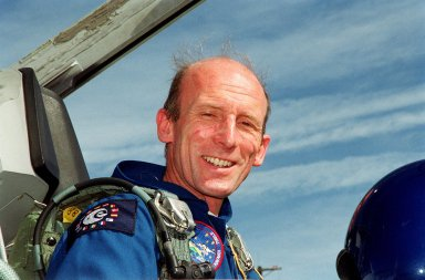STS-99 Mission Specialist Gerhard P.J. Thiele (Ph.D.), with the European Space Agency, arrives at KSC aboard a T-38 jet aircraft to prepare for launch of Endeavour Jan. 31 at 12:47 p.m. EST. Over the next few days, the crew will review mission procedures, conduct test flights in the Shuttle Training Aircraft and undergo routine preflight medical exams. STS-99 is the Shuttle Radar Topography Mission, which will chart a new course, using two antennae and a 200-foot-long section of space station-derived mast protruding from the payload bay to produce unrivaled 3-D images of the Earth's surface. The result of the Shuttle Radar Topography Mission could be close to 1 trillion measurements of the Earth's topography. Besides contributing to the production of better maps, these measurements could lead to improved water drainage modeling, more realistic flight simulators, better locations for cell phone towers, and enhanced navigation safety