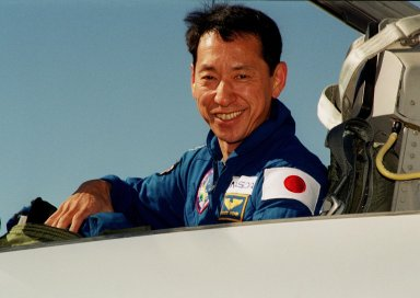 A smiling STS-99 Mission Specialist Mamoru Mohri of Japan arrives at KSC aboard a T-38 jet aircraft eager to prepare for the second launch attempt of Endeavour Feb. 11 at 12:30 p.m. EST from Launch Pad 39A. Mohri is with the Japanese National Space Development Agency (NASDA). The earlier launch scheduled for Jan. 31 was scrubbed due to poor weather and a faulty Enhanced Master Events Controller in the orbiter's aft compartment. Over the next few days, the crew will review mission procedures, conduct test flights in the Shuttle Training Aircraft and undergo routine preflight medical exams. STS-99 is the Shuttle Radar Topography Mission, which will produce unrivaled 3-D images of the Earth's surface. The result of the Shuttle Radar Topography Mission could be close to 1 trillion measurements of the Earth's topography. Landing is expected at KSC on Feb. 22 at 4:36 p.m. EST