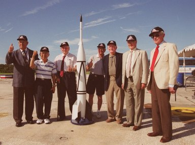 A 50th Anniversary Ceremony was held today in honor of the first rocket launch, called Bumper 8, from Pad 3 at Cape Canaveral on July 24, 1950. Members of the original Bumper 8 team reconvene at the ceremony with a Bumper 8 model rocket. The model was later launched as part of the festivities. Other activities included presentation of a Bumper Award to the Honorable George Kirkpatrick, State Senator, District 5; remarks by Center Director Roy Bridges and Commander, 45th Space Wing, Brig. Gen. Donald Pettit; and a reception at Hangar C. Bumper consisted of a German V-2 missile acting as the booster and a U.S. Army WAC Corporal rocket as the second stage. Since 1950 there have been a total of 3,245 launches from Cape Canaveral