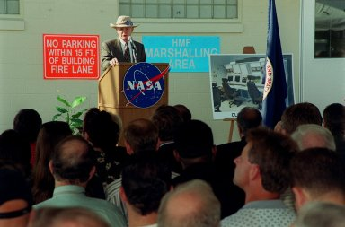 KSC Director Roy Bridges addresses attendees at a ribbon cutting for the new Checkout and Launch Control System (CLCS) at the Hypergolic Maintenance Facility (HMF). The CLCS was declared operational in a ribbon cutting ceremony earlier. The new control room will be used to process the Orbital Maneuvering System pods and Forward Reaction Control System modules at the HMF. This hardware is removed from Space Shuttle orbiters and routinely taken to the HMF for checkout and servicing