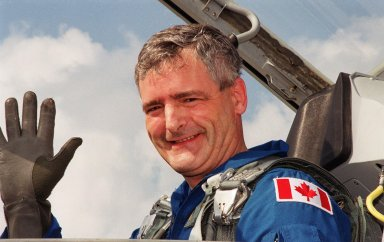 STS-97 Mission Specialist Marc Garneau arrives at the Shuttle Landing Facility aboard a T-38 jet aircraft. Garneau is with the Canadian Space Agency. He and the rest of the crew are at KSC to take part in Terminal Countdown Demonstration Test activities that include emergency egress training, familiarization with the payload, and a simulated launch countdown. The other crew members are Commander Brent Jett, Pilot Mike Bloomfield and Mission Specialists Joe Tanner and Carlos Noriega. Mission STS-97is the sixth construction flight to the International Space Station. Its payload includes the P6 Integrated Truss Structure and a photovoltaic (PV) module, with giant solar arrays that will provide power to the Station. The mission includes two spacewalks to complete the solar array connections. STS-97 is scheduled to launch Nov. 30 at 10:05 p.m. EST