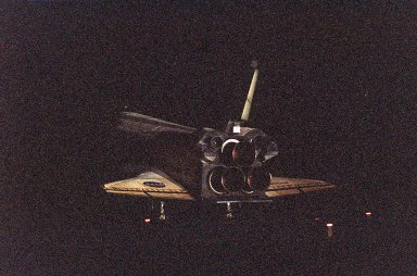 KENNEDY SPACE CENTER, Fla. -- Endeavour lands on orbit 171on Runway 15 at the Shuttle Landing Facility to complete the successful 10-day, 19-hour and 58-minute-long STS-97 mission. Main gear touchdown was at 6:03:25 p.m. EST; nose gear touchdown at 6:03:34 p.m. EST; and wheel stop at 6:04:20 p.m. EST. At the controls is Commander Brent Jett. Other crew members on board are Pilot Michael Bloomfield and Mission Specialists Joseph Tanner, Carlos Noriega and Marc Garneau of Canada. On the 4.4-million-mile mission, Endeavour carried the P6 Integrated Truss Structure with solar arrays to power the International Space Station. The arrays and other equipment were installed during three EVAs that totaled 19 hours, 20 minutes. Endeavour was docked with the Space Station for 6 days, 23 hours, 13 minutes. This is the 16th nighttime landing for a Space Shuttle and the 53rd at Kennedy Space Center