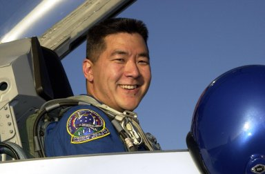 KENNEDY SPACE CENTER, Fla. -- STS-108 Mission Specialist Daniel M. Tani arrives at KSC in a T-38 jet trainer. He and the rest of the crew will be preparing for launch Nov. 29 on Space Shuttle Endeavour. Liftoff is scheduled for 7:41 p.m. EST. Top priorities for the STS-108 (UF-1) mission of Endeavour are rotation of the International Space Station Expedition Three and Expedition Four crews, bringing water, equipment and supplies to the station in the Multi-Purpose Logistics Module Raffaello, and completion of spacewalk and robotics tasks. Mission Specialists Linda A. Godwin and Tani will take part in the spacewalk to install thermal blankets over two pieces of equipment at the bases of the Space Station's solar wings. Other crew members are Commander Dominic L. Gorie and Pilot Mark E. Kelly