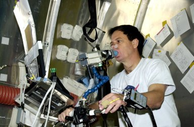 KENNEDY SPACE CENTER, FLA. - - STS-107 Payload Specialist Ilan Ramon, from Israel, works on an experiment at SPACEHAB, Cape Canaveral, Fla. With him is Mission Specialist Laurel Clark. STS-107 is a research mission. The primary payload is the first flight of the SHI Research Double Module (SHI/RDM). The experiments range from material sciences to life sciences (many rats). Also part of the payload is the Fast Reaction Experiments Enabling Science, Technology, Applications and Research (FREESTAR) that incorporates eight high priority secondary attached shuttle experiments: Mediterranean Israeli Dust Experiment (MEIDEX), Shuttle Ozone Limb Sounding Experiment (SOLSE-2), Student Tracked Atmospheric Research Satellite for Heuristic International Networking Experiment (STARSHINE), Critical Viscosity of Xenon-2 (CVX-2), Solar Constant Experiment-3 (SOLOCON-3), Prototype Synchrotron Radiation Detector (PSRD), Low Power Transceiver (LPT), and Collisions Into Dust Experiment -2 (COLLIDE-2). STS-107 is scheduled to launch in July 2002