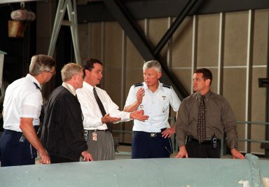 Inside the Vehicle Assembly Building, Director of Shuttle Processing relates information about the launch process to (left to right) Brig. Gen. Donald Pettit, Commander of the 45th Space Wing, Cape Canaveral; Roy Bridges, KSC?s Center Director; King; Gen. Ralph Everhart, Commander, Space Command; and Dave Rainer