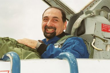 STS-100 Mission Specialist Umberto Guidoni arrives at KSC for Terminal Countdown Demonstration Test activities. He and the rest of the crew Commander Kent V. Rominger, Pilot Jeffrey S. Ashby and Mission Specialists Chris Hadfield, Scott E. Parazynski, John L. Phillips, and Yuri Lonchakov are going to be taking part in emergency escape training at the pad, equipment familiarization and a simulated launch countdown. An international crew, Hadfield is with the Canadian Space Agency, Guidoni the European Space Agency and Lonchakov the Russian Aviation and Space Agency. The mission is carrying the Multi-Purpose Logistics Module Raffaello and the Canadian robotic arm, SSRMS, to the International Space Station. Raffaello carries six system racks and two storage racks for the U.S. Lab. The SSRMS is crucial to the continued assembly of the orbiting complex and has a unique ability to switch ends as it works, ?inchworming? along the Station?s exterior. Launch of mission STS-100 is scheduled for April 19 at 2:41 p.m. EDT from Launch Pad 39A