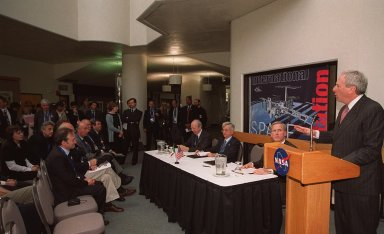 At a signing ceremony between the Italian Space Agency (ASI) and NASA for a Framework for Cooperation to build the Habitation Module for the International Space Station, NASA Administrator Daniel S. Goldin speaks to attendees. Seated at the table next to Goldin are The Honorable Lamberto Dini, Minister of Foreign Affairs, Republic of Italy (far left), Italian Space Agency President Sergio DeJulio, and John Schumacher, assistant administrator, NASA External Relations. The Framework is a potential bilateral cooperative agreement that could result in ASI development of a U.S. Habitation Module for the International Space Station. This agreement allows the U.S. to explore an alternative approach to achieve full crew habitation for the ISS. A Memorandum of Understanding (MOU) between NASA and ASI will be required to formally document NASA and ASI?s respective responsibilities in a legally binding document. The Framework signed today would form the basis for a potential MOU which NASA and ASI would sign after completion of the program assessment and subsequent negotiations.The ceremony took place at the IMAX Theater, Kennedy Space Center Visitor Complex