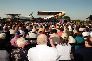 """KENNEDY SPACE CENTER, Fla. -- A large crowd is gathered at the KSC Visitor Complex to honor the induction of the first four Shuttle astronauts into the Astronaut Hall of Fame. The four honored were Robert Crippen, Frederick """"Rick"""" Hauck, Richard Truly and Joe Engle."""