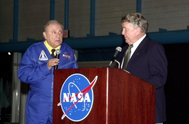 """KENNEDY SPACE CENTER, FLA. - A popular comedian during the early days of the space program, Bill Dana (left) recreates his comedic persona of """"astronaut Jose Jimenez"""" as he talks with space pioneer Wally Schirra. The occasion was the celebration of the 40th anniversary of American spaceflight. The dinner event was held at KSC's Apollo/Saturn V Center."""