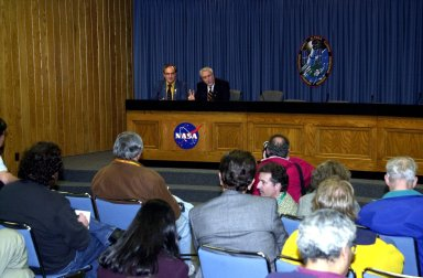 KENNEDY SPACE CENTER, FLA. -- At an STS-109 post-landing conference, NASA Administrator Sean O'Keefe talks to the media gathered in the KSC television studio. STS-109 rejuvenated the Hubble Space Telescope in a series of five spacewalks, installing new and improved equipment