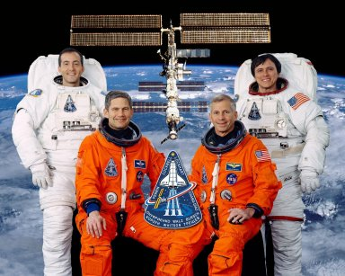 JOHNSON SPACE CENTER, HOUSTON, TX -- (JSC STS111-5-002) -- These four astronauts are the prime crew for NASA's STS-111 mission. Astronaut Kenneth D. Cockrell (front right) is mission commander, and astronaut Paul S. Lockhart (front left) is pilot. Astronauts Philippe Perrin (rear left), representing the French Space Agency, and Franklin R. Chang-Diaz are mission specialists, assigned to extravehicular activity (EVA) work on the International Space Station (ISS). Additionally, this crew will drop off the Expedition Five crew members at the orbital outpost, and it will bring back the Expedition Four trio at mission's end