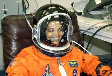 KENNEDY SPACE CENTER, FLA. -- STS-107 Mission Specialist Kalpana Chawla finishes suitup for launch. STS-107 is a mission devoted to research and will include more than 80 experiments that will study Earth and space science, advanced technology development, and astronaut health and safety. The payload on Space Shuttle Columbia includes FREESTAR (Fast Reaction Experiments Enabling Science, Technology, Applications and Research) and the SHI Research Double Module (SHI/RDM), known as SPACEHAB. Experiments on the module range from material sciences to life sciences. Liftoff is scheduled for 10:39 a.m. EST.