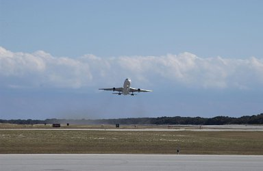 KENNEDY SPACE CENTER, FLA. - The L-1011 aircraft carrying a Pegasus XL rocket with NASA's Solar Radiation and Climate Experiment (SORCE) attached takes off from Cape Canaveral Air Force Station, Fla. The L-1011 will release the rocket over the Atlantic Ocean at 39,000 feet. After separation from the rocket, initial contact with the satellite will be made and the mission team will insure that the spacecraft is functioning properly. The SORCE science instruments will then be turned on and their health verified. Approximately 21 days after launch, if all is going well, the instruments will start initial science data collection and calibration will begin. The spacecraft will study the Sun's influence on our Earth and will measure from space how the Sun affects the Earth's ozone layer, atmospheric circulation, clouds, and oceans. This mission is a joint partnership between NASA and the University of Colorado's Laboratory for Atmospheric and Space Physics in Boulder, Colorado.