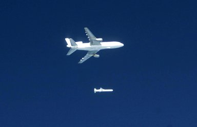 KENNEDY SPACE CENTER, FLA. -- The Pegasus XL rocket is dropped from the L-1011 aircraft at 3:14 p.m. EST, propelling NASA's Solar Radiation and Climate Experiment (SORCE) toward its orbit. Separation of the spacecraft from the rocket occurred 10 minutes and 46 seconds after launch at about 3:24 p.m. Initial contact with the satellite was made seven seconds after separation via a NASA communications satellite network. Over the next few days, the mission team will insure that the spacecraft is functioning properly. The SORCE science instruments will then be turned on and their health verified. Approximately 21 days after launch, if all is going well, the instruments will start initial science data collection and calibration will begin. The spacecraft will study the Sun's influence on our Earth and will measure from space how the Sun affects the Earth's ozone layer, atmospheric circulation, clouds, and oceans. This mission is a joint partnership between NASA and the University of Colorado's Laboratory for Atmospheric and Space Physics in Boulder, Colorado. [Photo courtesy of Jeff Caplan, Langley Research]