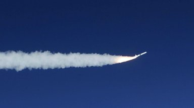 KENNEDY SPACE CENTER, FLA. -- After being dropped from the L-1011 aircraft at 3:14 p.m. EST over the Atlantic Ocean, the Pegasus XL rocket fires, propelling NASA's Solar Radiation and Climate Experiment (SORCE) toward its orbit. Separation of the spacecraft from the rocket occurred 10 minutes and 46 seconds after launch at about 3:24 p.m. Initial contact with the satellite was made seven seconds after separation via a NASA communications satellite network. Over the next few days, the mission team will insure that the spacecraft is functioning properly. The SORCE science instruments will then be turned on and their health verified. Approximately 21 days after launch, if all is going well, the instruments will start initial science data collection and calibration will begin. The spacecraft will study the Sun's influence on our Earth and will measure from space how the Sun affects the Earth's ozone layer, atmospheric circulation, clouds, and oceans. This mission is a joint partnership between NASA and the University of Colorado's Laboratory for Atmospheric and Space Physics in Boulder, Colorado. [Photo courtesy of Jeff Caplan, Langley Research]