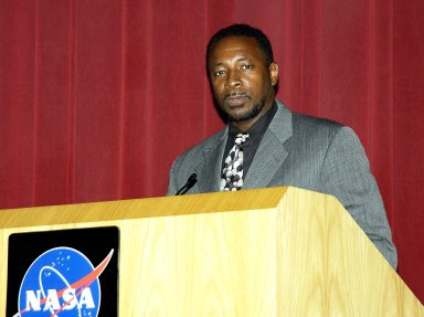 KENNEDY SPACE CENTER, FLA. - Dr. Woodrow Whitlow Jr., KSC deputy director, speaks to employees during Center Director Jim Kennedy?s first all-hands meeting for employees. Also on the agenda was Tim Wilson, assistant chief engineer for Shuttle, and Bill Pickavance, vice president and deputy program manager, Florida operations, United Space Alliance.. Representatives from the Shuttle program and contractor team were on hand to discuss the Columbia Accident Investigation Board report and where KSC stands in its progress toward return to flight.