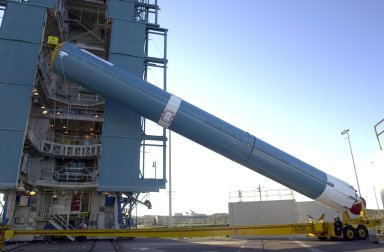 VANDENBERG AIR FORCE BASE, CALIF. - On Space Launch Complex 2 at Vandenberg Air Force Base in California, the first stage of a Boeing Delta 2 rocket is being raised to a vertical position for erection in the launch service tower. The Delta 2 is the launch vehicle for the National Oceanic and Atmospheric Administration (NOAA-N) spacecraft. The NOAA-N satellite will be placed into a polar orbit aboard a Boeing Delta 2 rocket. The spacecraft will continue to provide a polar-orbiting platform to support (1) environmental monitoring instruments for imaging and measuring the Earth's atmosphere, its surface, and cloud cover, including Earth radiation, atmospheric ozone, aerosol distribution, sea surface temperature, and vertical temperature and water profiles in the troposphere and stratosphere; (2) measurement of proton and electron flux at orbit altitude; (3) data collection from remote platforms; and (4) the Search and Rescue Satellite-Aided Tracking (SARSAT) system. Additionally, NOAA-N is the fourth in the series of support dedicated microwave instruments for the generation of temperature, moisture, surface, and hydrological products in cloudy regions where visible and infrared (IR) instruments have decreased capability. Launch is currently scheduled for no earlier than May 11, 2005.